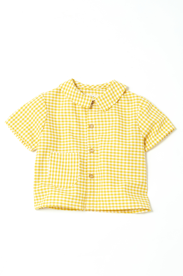 Round collar shirt in yellow gingham le wardrobe for Mens yellow gingham shirt
