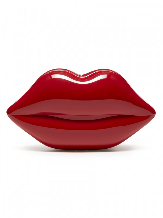 RED PERSPEX LIPS CLUTCH