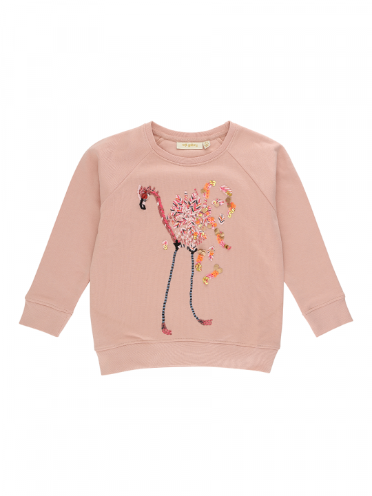Chaz Sweatshirt Rose cloud, Flamingo Embroidery_soft_gallery_le_wardrobe