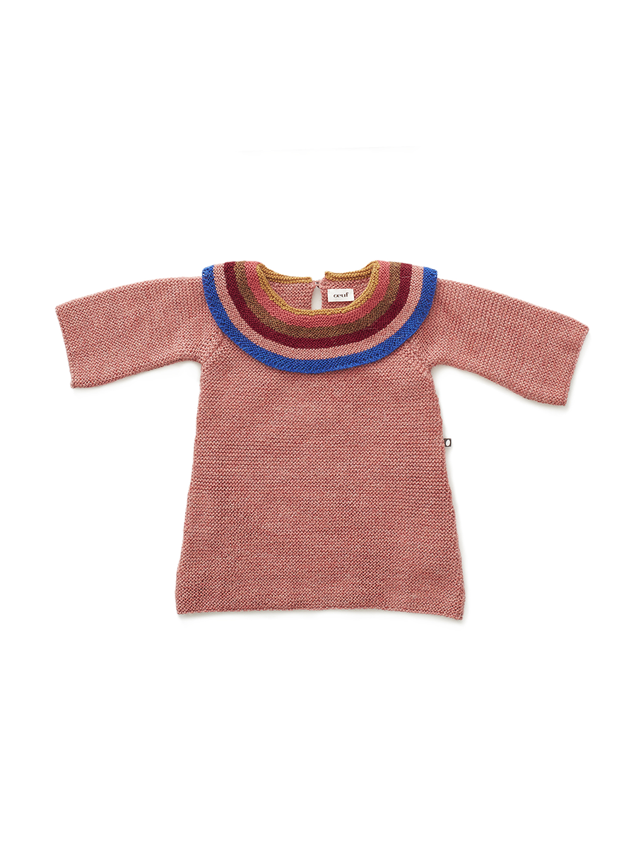 8bb615fff403 RAINBOW COLLAR DRESS ROSE MULTI | Le Wardrobe
