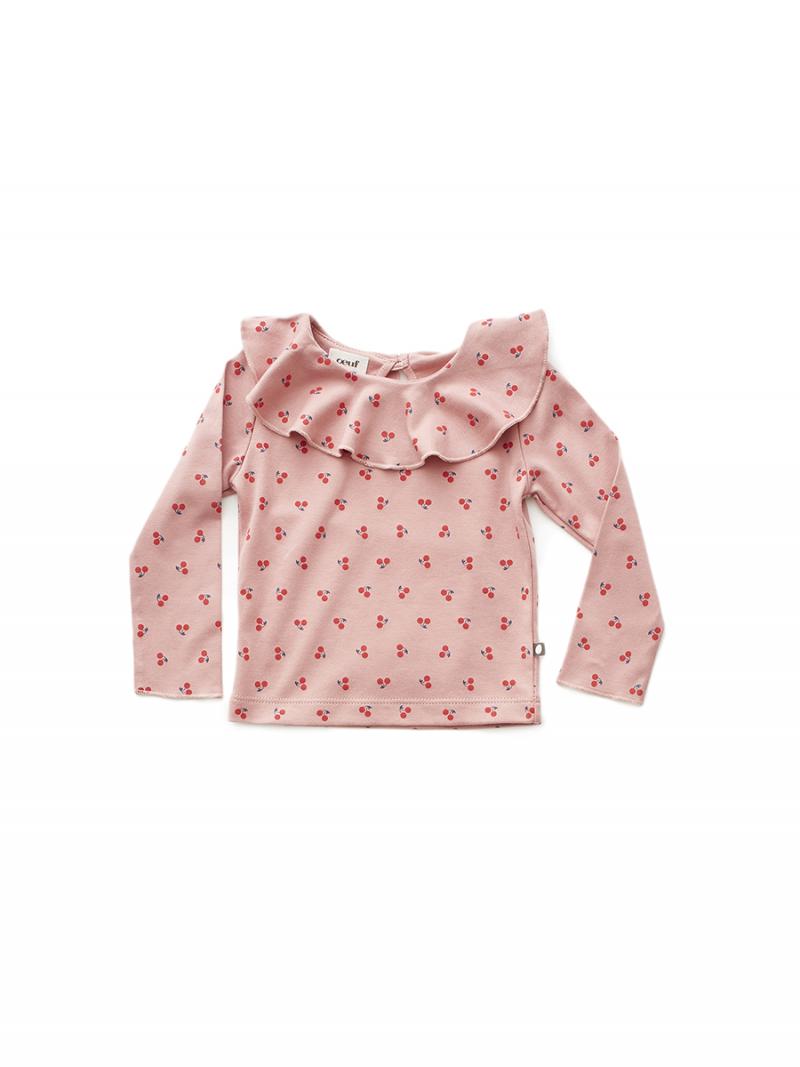 e64476a2c6f5 RUFFLE COLLAR TEE DARK PINK CHERRIES | Le Wardrobe