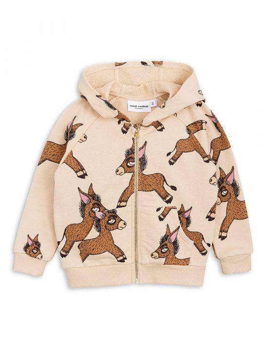 1822020313 1 mini rodini donkey aop zip hoodie beige