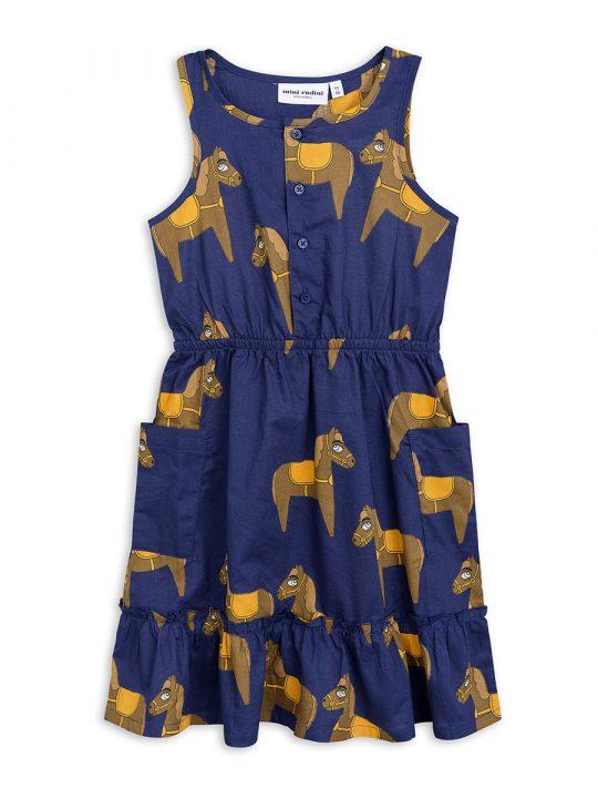 1825010667 1 mini rodini horse woven flounce dress navy