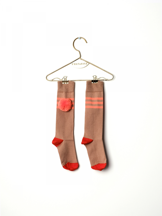 long_socks_stripes_coral_lewardrobe_wolf_and_rita