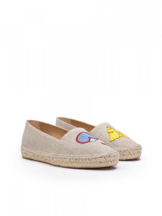 Flat linen espadrille with embroidered diver_2_lewardorbe_castaner