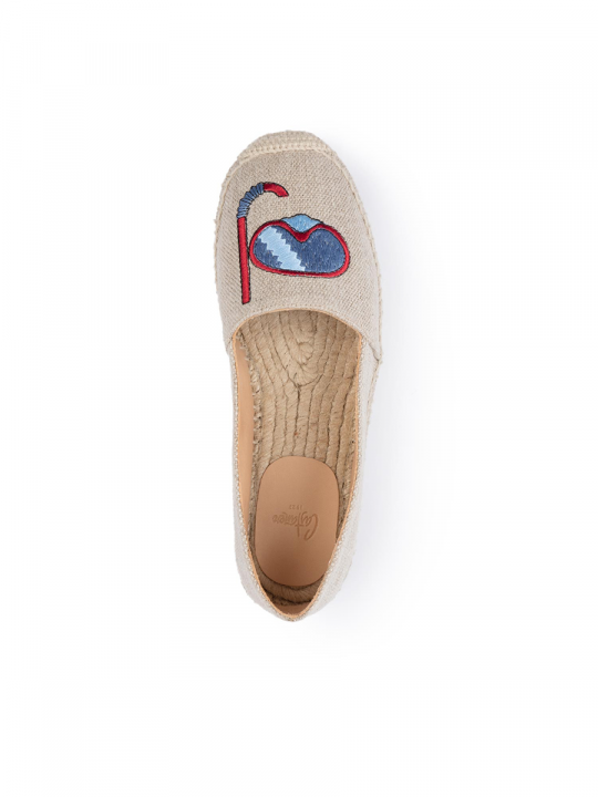 Flat linen espadrille with embroidered diver_3_lewardorbe_castaner