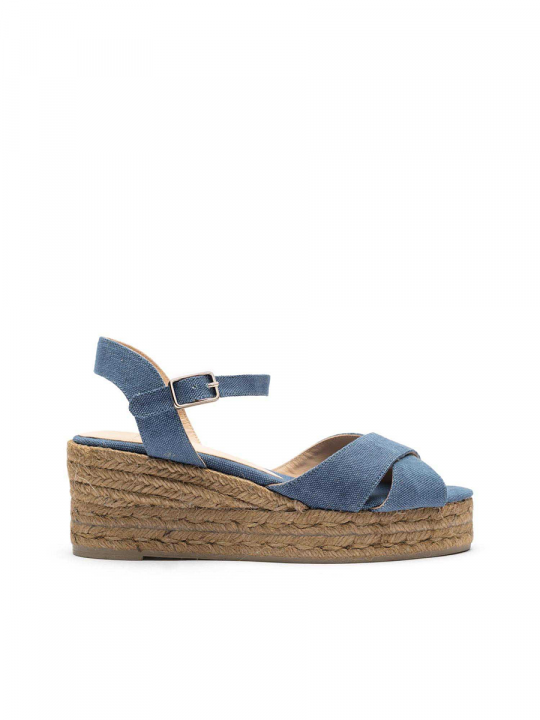 Peep-toe wedge espadrille with a crossed upper_3_le_wardrobe_castaner